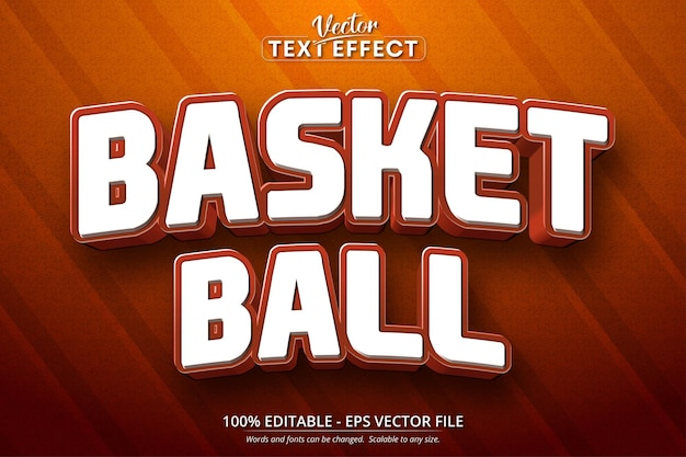 Basketbaltekst, bewerkbaar teksteffect in cartoonstijl
