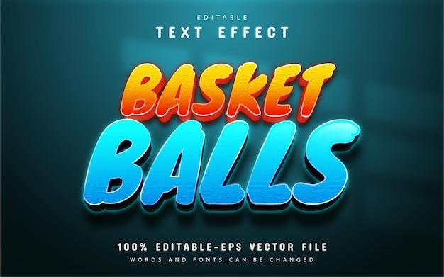 Basketbaltekst, teksteffect in verloopstijl