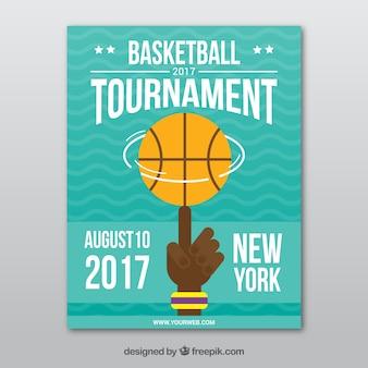 Basketbaltoernooi brochure in plat design