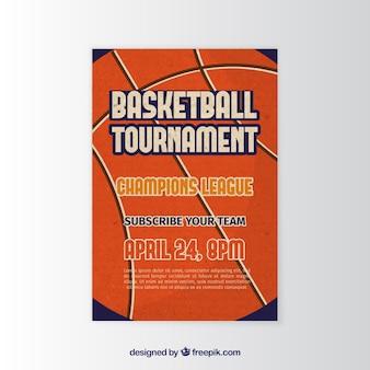 Basketbaltoernooi brochure in vintage stijl