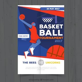 Basketbaltoernooi brochure met de speler