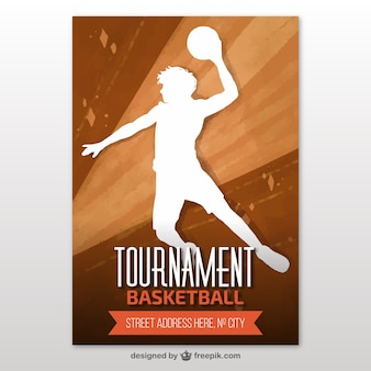 Basketbaltoernooi brochure met speler silhouet