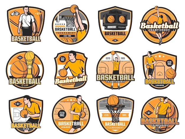 Basketbaltoernooi, kampioenschap- en clubemblemen, varsity league-badges.