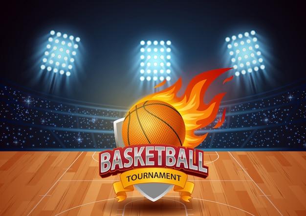 Basketbaltoernooi met stadionachtergrond.