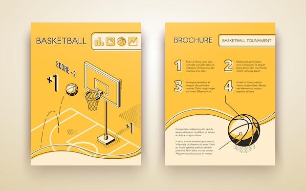 Basketbaltoernooi promotionele brochure of reclame flyer lijntekeningen