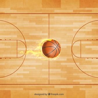 Basketbalveld bal vector
