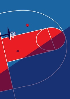 Basketbalveld illustratie