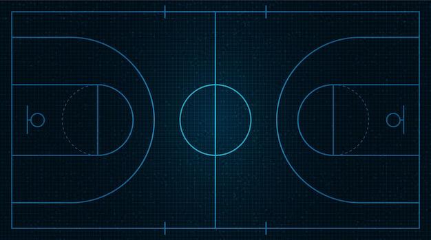 Basketbalveld in neon op zwart