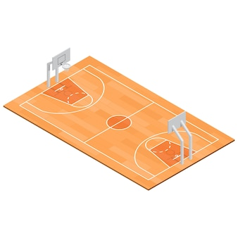 Basketbalveld sport isometrische weergave.