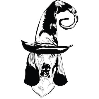 Basset hound dog met heksenhoed voor halloween