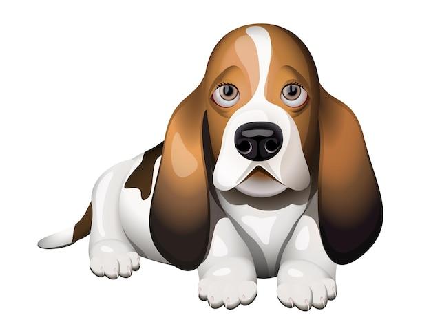 Basset hound-puppy die op vloer ligt