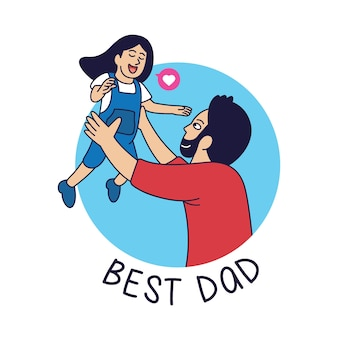Bast dad cartoon afbeelding, vader speelt met zijn dochter