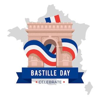 Bastille dag concept in platte ontwerp