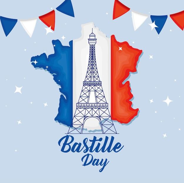Bastille dag eiffeltoren op de kaart