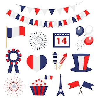 Bastille dag, frankrijk nationale feestdag pictogrammen instellen. vector illustratie.