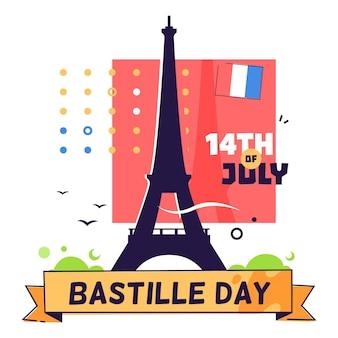 Bastille dag geïllustreerd concept
