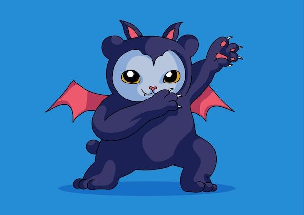 Bat cat funny cute dabbing style halloween