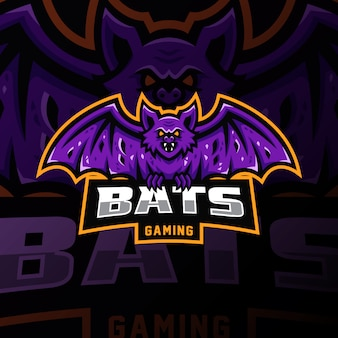 Bat mascotte logo esport gaming illustratie