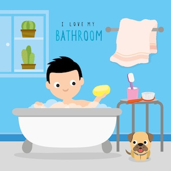 Bathroom home boy routine activity dairy towel shower cartoon character vector