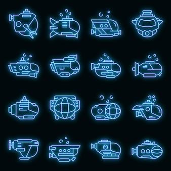 Bathyscaaf pictogrammen instellen. overzicht set van bathyscaaf vector iconen neon kleur op zwart