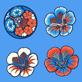 Batik bloem illustratie in blauwe toon set