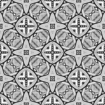 Batik indonesisch is een zwart-wit batik naadloos patroon en is een techniek van wax-resist verven toegepast op hele doek