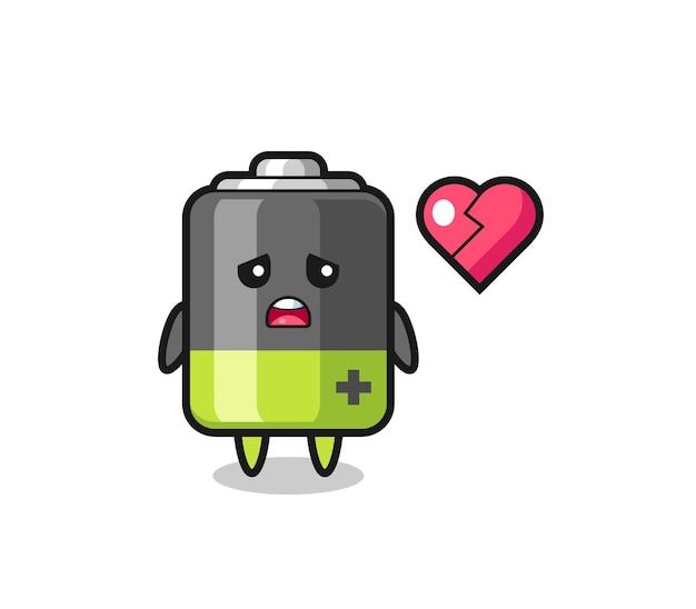 Batterij cartoon afbeelding is gebroken hart, schattig stijlontwerp voor t-shirt, sticker, logo-element