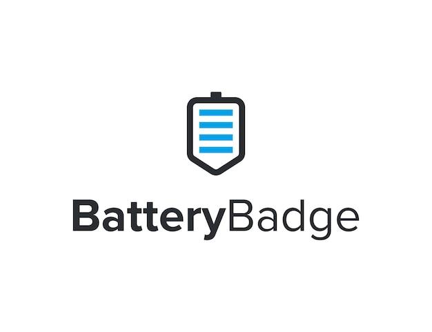 Batterij en badge eenvoudig gestroomlijnd creatief geometrisch modern logo-ontwerp