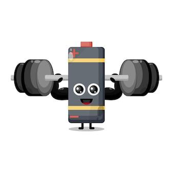 Batterij fitness barbell schattig karakter mascotte