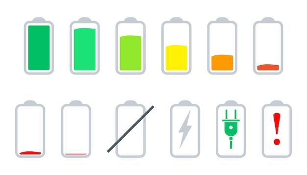 Batterij-indicatorpictogrammen ingesteld, statusbalkpictogrammen leven batterijpictogrammen. ontladen en volledig opgeladen batterij.