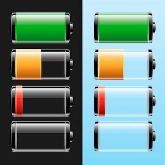 Batterij ingesteld met verschillende laadniveaus
