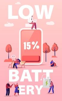 Batterij laag niveau concept. personages laden apparaten, mobiele telefoons en gadgets op. cartoon afbeelding