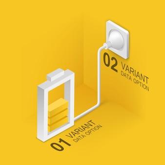 Batterij opladen via het lichtnet. vector illustratie