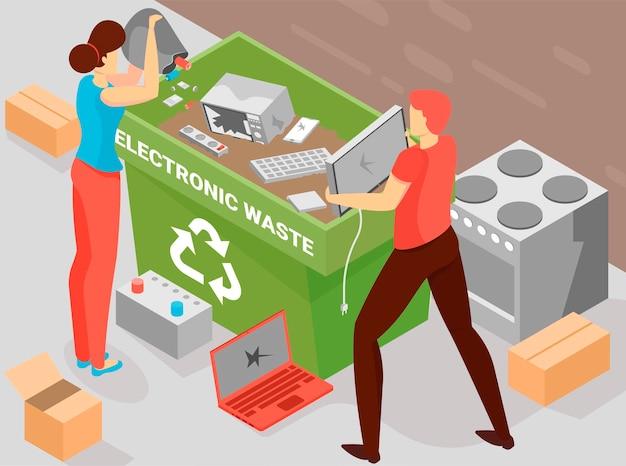 Batterij recycling achtergrond met elektronische afval symbolen isometrisch