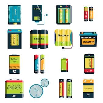 Batterijladingstechnologie en alkalinebatterij. batterijaccumulator oplader symbool voor het genereren van spanning.