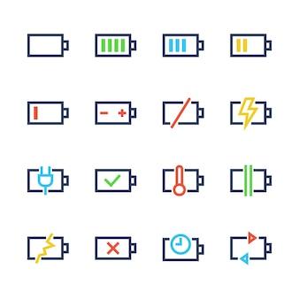 Batterijlijn pictogrammen