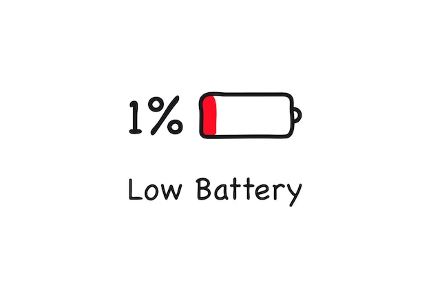Batterijpictogram bijna leeg. één procent opladen. batterij bijna leeg. pictogram voor batterijlading. elektriciteitssymbool - energieteken. vermogen batterij illustratie.