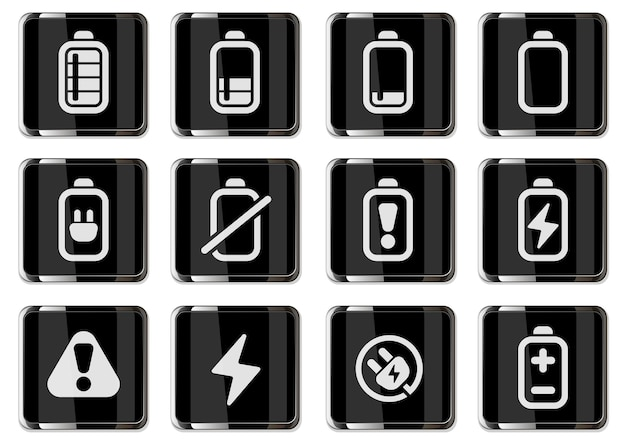 Batterijpictogrammen in zwarte chromen knoppen iconen set geïsoleerd voor gebruikersinterfaceontwerp