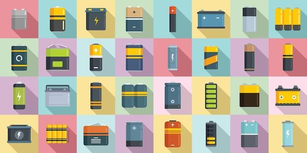 Batterijpictogrammen instellen platte vector. lithium cel. batterij opladen