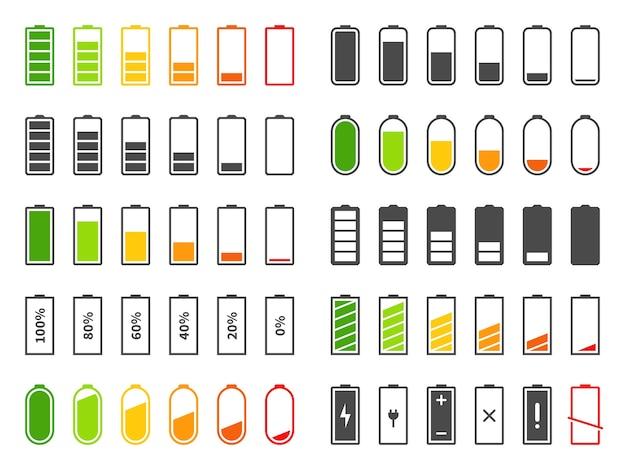 Batterijpictogrammen op wit worden geïsoleerd dat