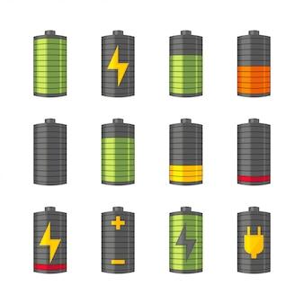 Batterijpictogrammen voor telefoons of smartphones met verschillende ladingen, van volledig opgeladen tot leeg. geïsoleerd op de witte achtergrond. illustratie.
