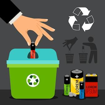 Batterijrecyclage man hand die een batterij in kringloopcontainer zet