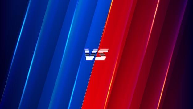 Battle versus vs-achtergrond voor sportgame battle versus achtergrond met blauwe en rode kleur