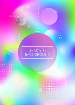 Bauhaus achtergrond met vloeibare vormen. dynamische holografische vloeistof met gradiëntelementen van memphis. grafische sjabloon voor brochure, banner, behang, mobiel scherm. iriserende bauhaus-achtergrond.