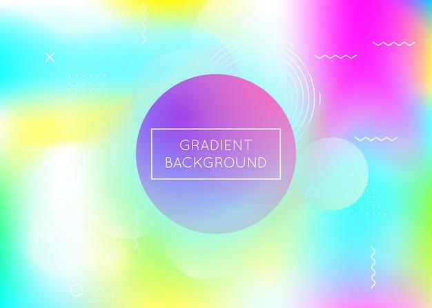 Bauhaus achtergrond met vloeibare vormen. dynamische holografische vloeistof met gradiëntelementen van memphis. grafische sjabloon voor flyer, ui, tijdschrift, poster, banner en app. trendy bauhaus-achtergrond.