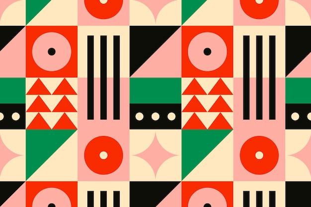 Bauhaus geïnspireerd patroon platte ontwerp achtergrond