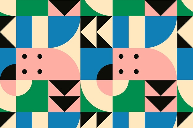 Bauhaus geïnspireerd patroon vector platte ontwerp achtergrond