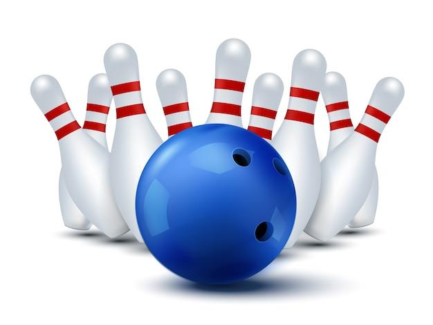 Bawling sjabloon geïsoleerd. bowlingbal en kegels