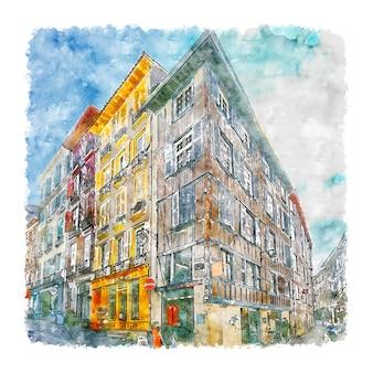 Bayonne frankrijk aquarel schets hand getekende illustratie