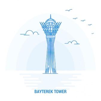 Bayterek-toren blauw monument